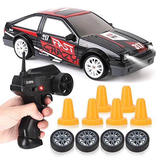 RC Drift Car 1/24 2.4GHz 4WD Remote Control Sport Racing On-Road Vehicle with LED Light, Batteries and Drift Tires