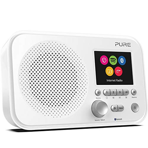 Pure Elan IR5 Internetradio mit Bluetooth (mit Spotify Connect, über 25.000 Radiosender, Weckfunktionen, Küchen- und Sleep-Timer, 2,8-Zoll-TFT-Farbdisplay, 12 Senderspeicherplätze), Weiß