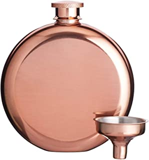BarCraft Luxury Stainless Steel Mini Hip Flask with Decanting Funnel, 140 ml (5 fl oz) - Copper Effect