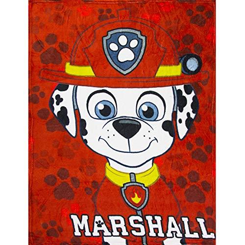 Nickelodeon's Paw Patrol Decke Fleece Kuschel-Decke mit Marshall & Chase, Farbe:Rot