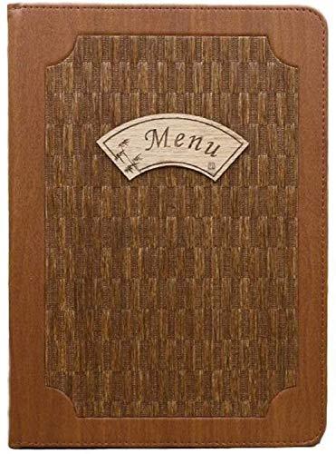 10枚セット 木目 調 メニュー ブック ファイル A4 全4パターン 料理 選択 中閉じ スタンダード レシピ バインダー レトロ 調 (パターンC)