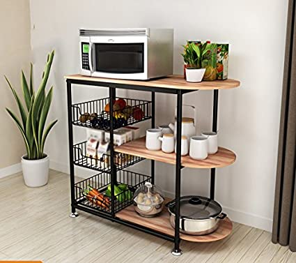 Color : B, Style : Chassis RENJUN Scaffale da Cucina per Scaffali Multi-Strato A Microonde Ripostiglio per Verdure in Ceramica Ripiano 80x38x81.3CM Conservazione della Cucina