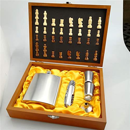 Petacas De Alcohol Acero inoxidable 8OZ O 7OZ Petaca Juego de ajedrez de madera con caja de regalo, alta calidad (Color : 7oz)