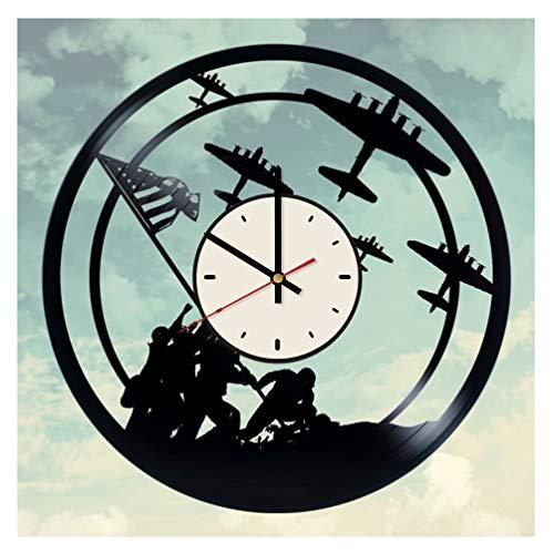 U.S. Navy Vinyl Clock Military History Fans Birthday Gifts Ideas World War II Home Wall Decor