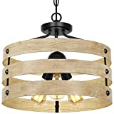Lampundit 3-Lights Farmhouse Vintage Chandelier Rustic Pendant Lighting Industrial Hanging Light Fixture for Dining Room Kitchen Island, Wrought Iron ,Wood Finish Brown E26