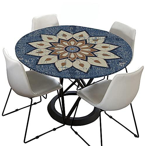 Morbuy Tischdecke Elastisch, Mandala Drucken Rund Tischdecken Wasserdicht Lotuseffekt Abwaschbar Abwischbar Tischtuch für Dekoration Küchentisch Garten Outdoor (Blau grau,120cm)