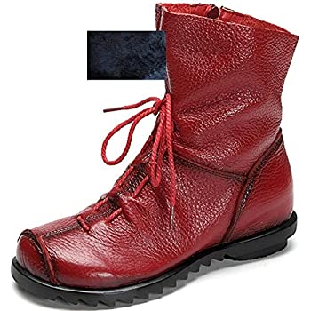 Womens Genuine Leather Casual Soft Flat Boots