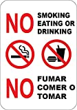 No Smoking Eating or Drinking English and Spanish Sign 7'x10' Commerical Grade Aluminum