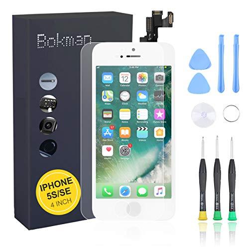 bokman Vormontiertes Display Reparaturset kompatibel mit Weiß iPhone 5s/SE, Inklusive FaceTime-Kamera, Mikrofon, Lautsprecher und Näherungssensor, Passendes Profi-Werkzeugset enthalten