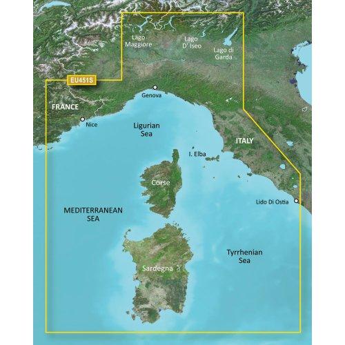 GARMIN BLUECHART G2 HXEU451S LIGURIAN SEA CORSICA &