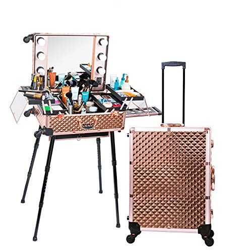 ZZSQ Caisse cosmétique de Train de Coiffure de Chariot avec la Station de Maquillage de Cas de boîte de Maquillage de roulement de lumière/Support/Miroir de 3 Couleurs,Rosegold