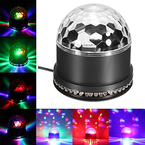 Besmall 9W Proiettore a Sfera Palla Girevole LED RGB Stroboscopica Palco Discoteca DJ Crystal Stage Magic Ball Con Port USB Scheda SD per Musica MP3