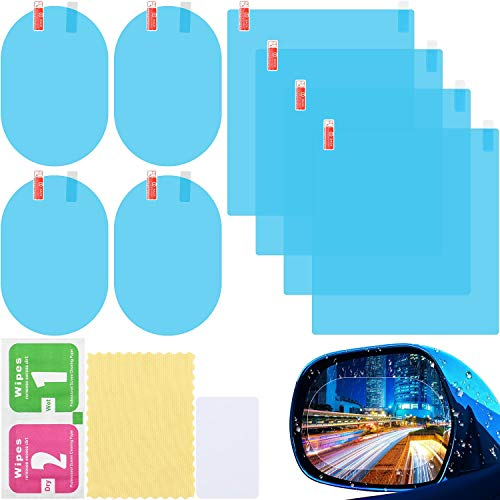8 Pieces Car Rearview Mirror Film, Anti Fog Glare Rainproof Waterproof Mirror Film HD Clear Nano Coating Car Film, Protective Film Sticker for Car Rear View Mirrors and Side Windows