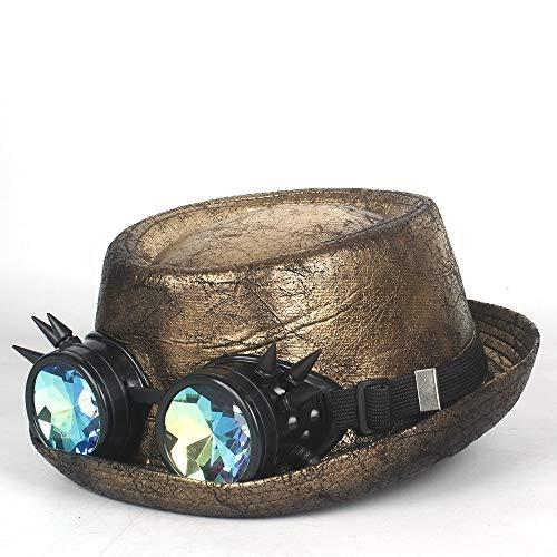 SSHZJUS Hombres Sombrero de Cuero de Steampunk Sombrero de Ducha del Sombrero de Fedora Engranaje vidrios Planos del Sombrero de Copa del Caballero del Sombrero de Cosplay Bowler Gambler