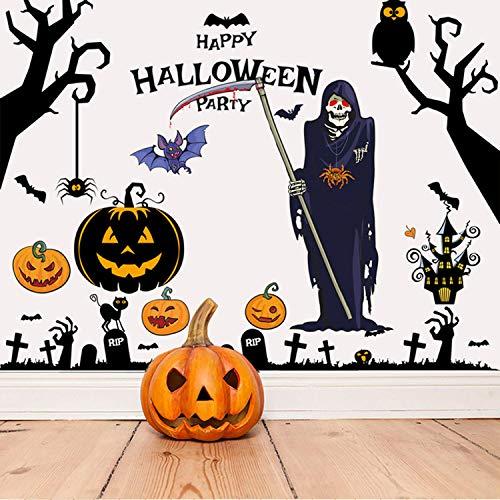 LIZHIGE Halloween Wandaufkleber Fenster Aufkleber Selbstklebende Abnehmbare Wandtattoos Fledermäuse Schädel Kürbis Aufkleber für Halloween Party Wand Fenster Dekorationen (5)