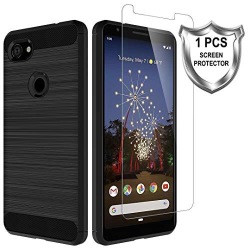 LK Custodia Compatibile con Google Pixel 3a-1 Pack Vetro Temperato Screen Protector, Protettiva Flessibile Soft TPU Spazzolato Case Cover- Nero