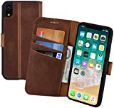 Suncase Book-Style Echt Leder Tasche für iPhone XR Schutzhülle Handytasche (Slim-Fit) Wallet Hülle Hülle (mit Standfunktion & Kartenfach - Bruchfester Innenschale) in Antik-Coffee