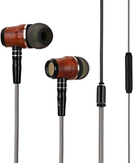 Wood Headphones Earbuds, Zermie Premium Genuine Wood in-Ear Noise Cancelling Heavy Bass Earphones with Mic for iPhone iPad Samsung Android Cell Phones Tablets Laptop