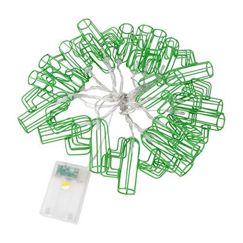 Uonlytech - Guirnalda de 20 cactus, funciona con pilas, guirnaldas de luces LED, decoración para pared, árbol de Navidad, corona de fiesta