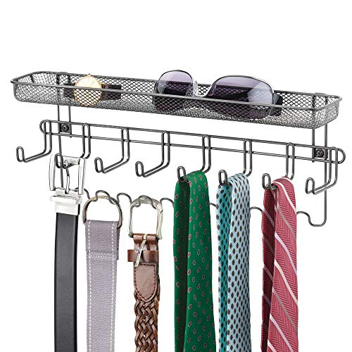 mDesign Closet Wall Mount Men's Accessory Storage Organizer Rack - Holds Belts, Neck Ties, Watches, Change, Sunglasses, Wallets - 19 Hooks and Basket - Graphite Gray