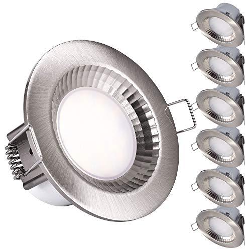 6er SET LED Bad Dusche Einbaustrahler IP54 rund Rostfrei 5W Feuchtraum Einbauspot Edelstahl Optik badezimmer Deckenspot Einbauspot
