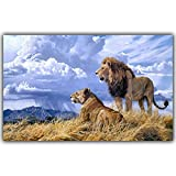 QWESFX Prairie Animal Lion Painting Cow Painting On Canvas White Art Prints For Bedroom Canvas Prints Personalized (Print No Frame) A3 60x90CM