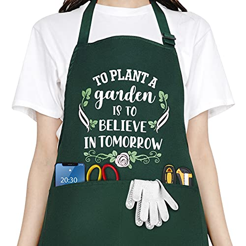 Saukore Funny Garden Aprons for Women, Waterproof Kitchen Aprons with 2 Pockets for Cooking Baking Gardening – Cute Birthday Gifts for Gardener Florist Wife Mom Grandma