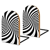 Book Ends,2 Pcs Wood Bookends Decorative Book Ends for Holding Books/Cookbooks/DVDs/Movices-Black White Zebra Swirls S Optical Illusion