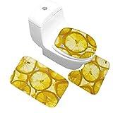 Kjhds Alfombra de Mariposa con Flores y césped, Juego de Tres Piezas para baño, Alfombrilla con Estampado, rodaja de limón