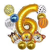 風船 18ピースの赤ちゃんの誕生日パーティーアルミホイルの風船の装飾スーツグローブ子供のゴールド番号漫画ジャングルのテーマ (Ballon Size : 18pcs, Color : Set)