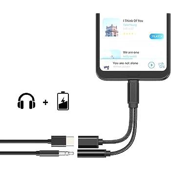 USB C Audio Adaptateur,2 en 1 Type C vers Adaptateur Prise Jack pour Casque Audio 3,5 mm avec Chargeur, câble Audio USB C pour Xiaomi MIX2 Xiaomi 6