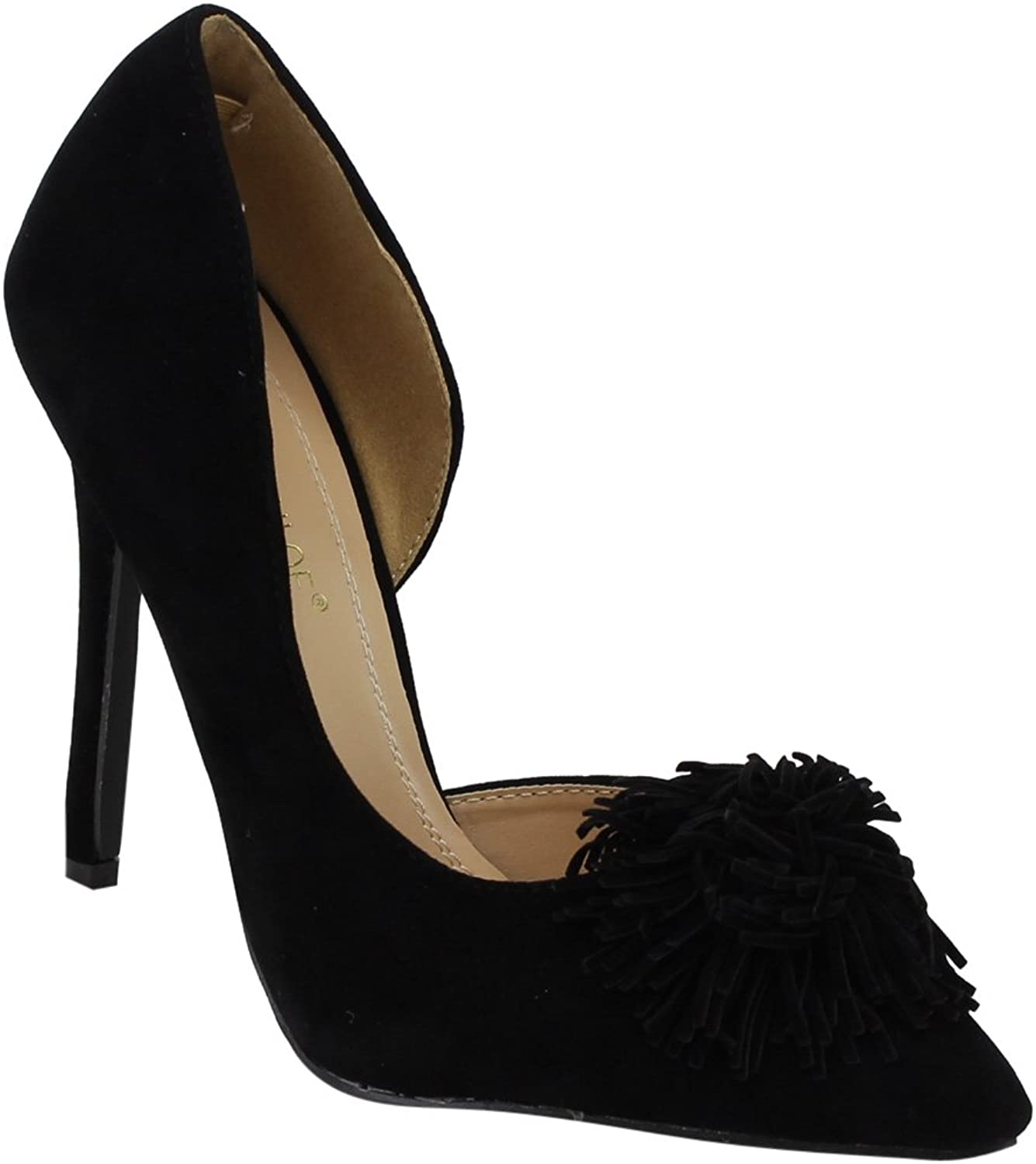 Chase & Chloe EF97 Women's High Stiletto Heel Fringe D'Orsay Dress Pumps