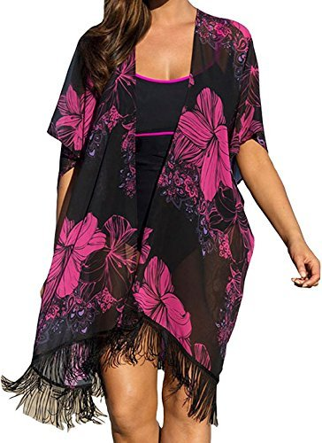 Lonatings Women Plus Size Chiffon Floral Swimsuit Cover up, One Size