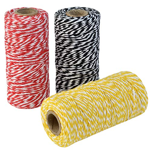 Topbuti 984 Feet 2mm Cotton Bakers Twine, Christmas Wrapping Twine Gift Packing String Rope Cord for DIY Crafts, Valentine's Day Holiday (Red and White, Black and White, Yellow and White)