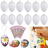 Nabance Uova di Pasqua Decoration 50 uova di Pasqua da dipingere, uova di Pasqua sospese a una corda, con quattro adesivi in strass per la decorazione di Pasqua