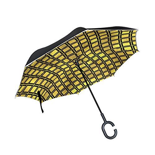 mit C-förmigem Griff Goldenes Quadrat Grafikmuster Außenschirm Winddicht Sonnenschirm Wendeschirm Tier fürs Auto