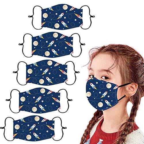 Lulupi 5 Stück Kinder Mundschutz Multifunktionstuch 3D Cartoon Druck Maske Atmungsaktiv Baumwolle Stoffmaske Waschbar Wiederverwendbar Mund-Nasenschutz Tiermotiv Bandana Halstuch Schals Jungen Mädchen