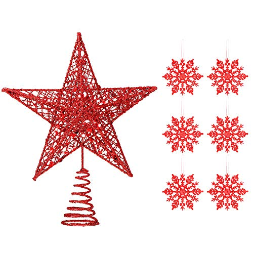 Homo Trends 10 Pollici Albero di Natale Topper, Red Tree Topper Star Xmas Hallow Wire Star Topper e 6Pcs 4 Pollici Glitter Snowflake Shape Hanging Ornament Decorations for Christmas Tree Decoration