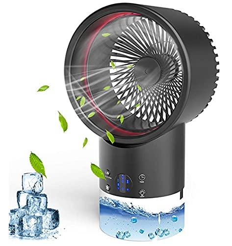 Mobile Klimageräte,Mini Persönliche Klimaanlage,4 in 1 Air Cooler Klimaanlage,2 Timer,3 Geschwindigkeiten mit 7 Farben LED für Heim und Büro(Schwarz)
