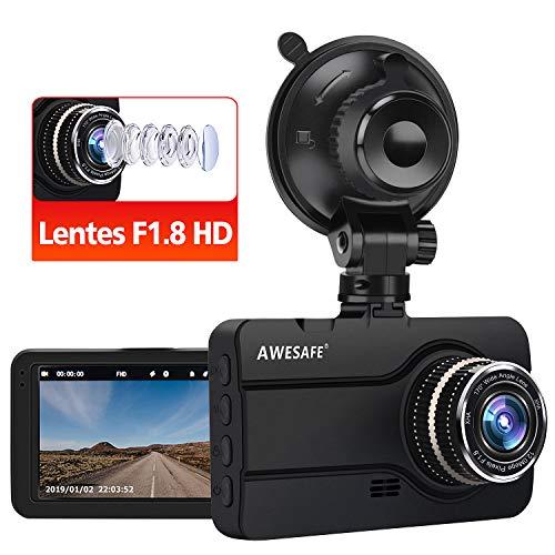 AWESAFE Dash CAM Cámara de Coche con Lentes F1.8 1080P Full HD 170 Ángulo con WDR G-Sensor, Detección de Movimiento, Grabación en Bucle, Visión Nocturna, Monitor de Aparcamiento