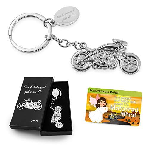 ZWEN Motorrad Schlüsselanhänger Schutzengel-Gravur mit Geschenkbox + Schutzengelkarte/Glücksbringer Silber glänzend als Talisman für Motorradfahrer & Geschenk zum Führerschein
