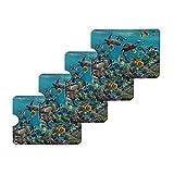Ocean Coral Reef Sea Turtles Diving Credit Card RFID Blocker Holder Protector Wallet Purse Sleeves Set of 4