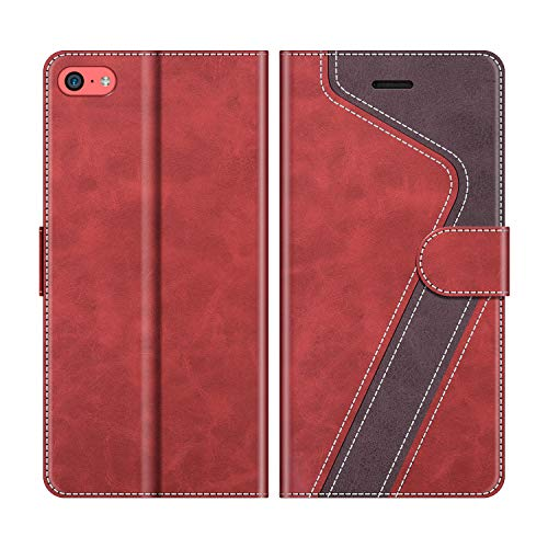 MOBESV Handyhülle für iPhone 5C Hülle Leder, iPhone 5C Klapphülle Handytasche Hülle für iPhone 5C Handy Hüllen, Rot