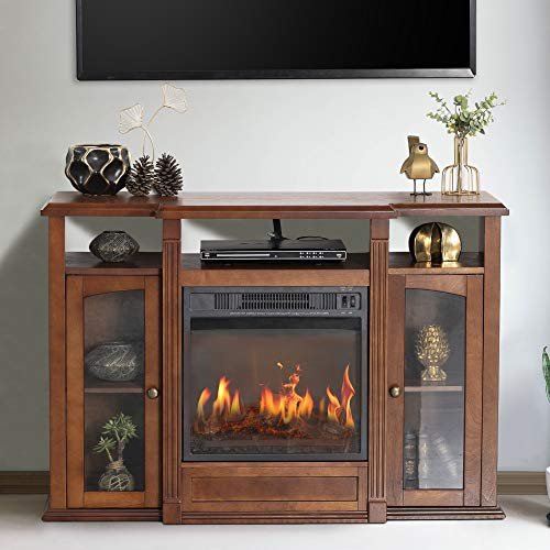 """GOOD & GRACIOUS Electric Fireplace TV Stand, Fit up to 50"""" Flat Screen TV with Two Cabinet and Three Open Shelves Entertainment Center for Living Room, Espresso"""