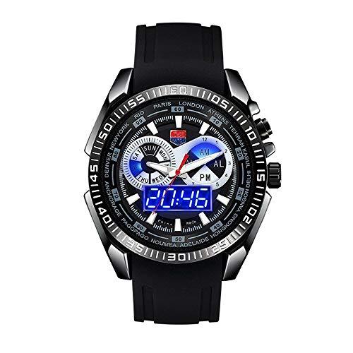 FENKOO TVG Armbanduhren TVG Uhr Herren Militäruhr Doppel-Show leuchtende wasserdichte Herrenuhr Sport elektronische Uhr Quarzuhr (Color : 1)
