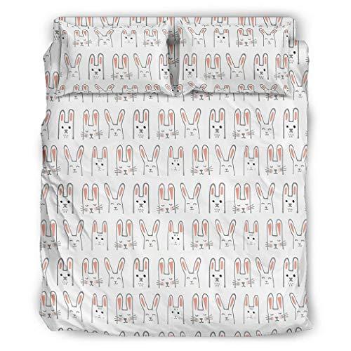 Hothotvery Juego de ropa de cama de 4 piezas con estampado de dibujos animados, conejos, comer, ropa de cama de 4 piezas, transpirable, funda nórdica y fundas de almohada, color blanco, 228 x 264 cm