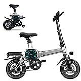 Bicicleta eléctrica e Bike plegable de 14 pulgadas, 250 W, bicicleta eléctrica extraíble, batería de 48 V, 10 Ah, 32 km/h, para adultos, plegable, 50 km de largo recorrido, Grise_14 Ah