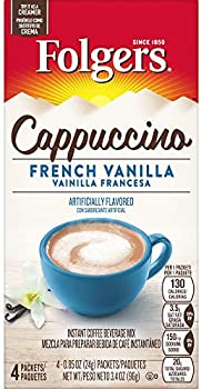 32-Pack Folgers Cappuccino French Vanilla Instant Coffee Beverage Mix