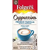 Folgers Cappuccino French Vanilla Instant Coffee Beverage Mix, 32 Single Serve Packets, French Vanilla, 26.88 Ounce