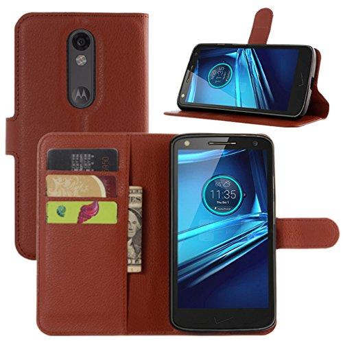 HualuBro Moto X Force Hülle, [All Aro& Schutz] Premium PU Leder Leather Wallet HandyHülle Tasche Schutzhülle Flip Case Cover für Motorola Moto X Force Smartphone (Braun)